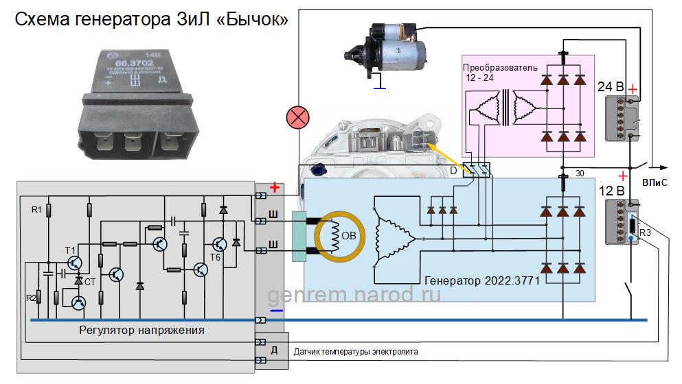Схема генератора Зил Бычок
