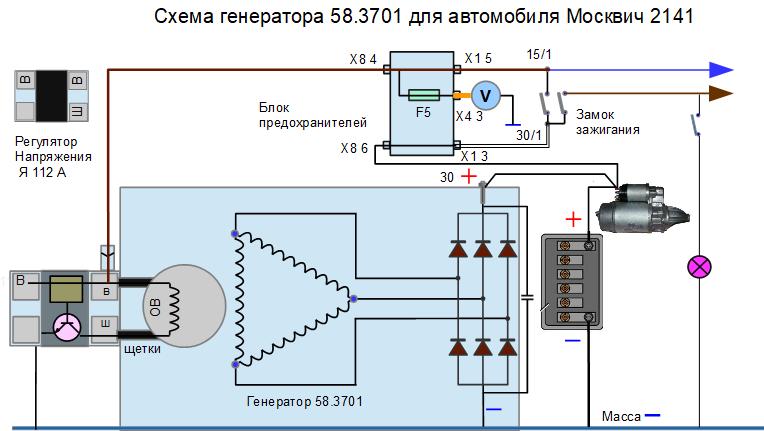 схема генератора на Москвич 2141
